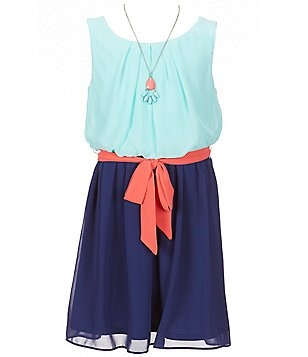 I.N. Girl Big Girls 7-16 Color Block Crepe Pleated Bow Dress