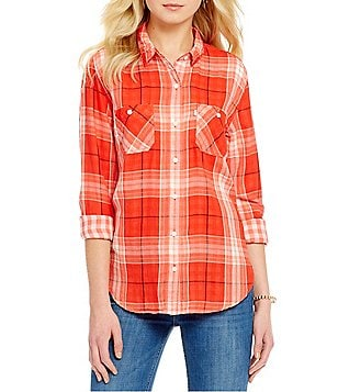 Levi´s® Plaid Long-Sleeve Chambray Boyfriend Workwear Top
