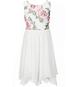 I.N. Girl Big Girls 7-16 Floral-Print Lace Sleeveless Dress