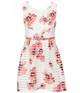 I.N. Girl Big Girls 7-16 Floral-Print Belted Skater Dress