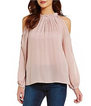 Sugarlips Cold Shoulder Ruffle Neck Blouse