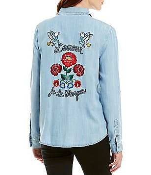 Miss Me Embroidered Button Front Denim Top