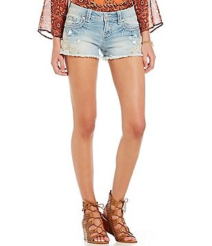 Miss Me Lace Frayed Hem Shorts