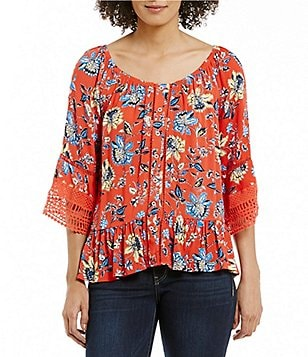 Democracy 3/4 Blouson Sleeve Printed Peasant Blouse