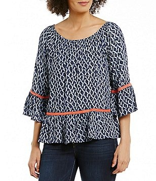 Democracy Round Neck 3/4 Blouson Sleeve Printed Peasant Blouse
