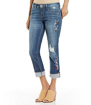 Democracy Geo Embroidered Cuffed Jeans