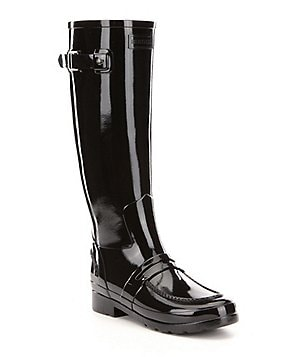 Hunter Boots Tall Glossed Rubber Pull On Water Proof Penny Loafer Rain Boots