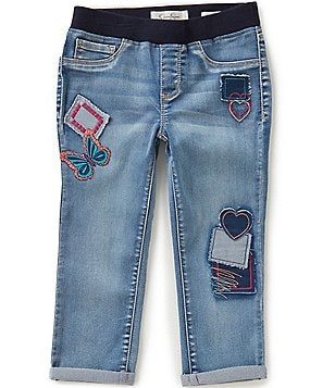 Jessica Simpson Big Girls 7-16 Gracie Patched Ribbed-Waist Cuffed Jeggings