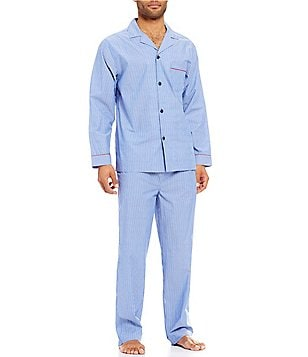 Roundtree & Yorke Long-Sleeve Striped Pajama Set