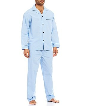 Roundtree & Yorke Long-Sleeve Mini Check Pajama Set