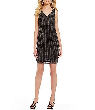 Pisarro Nights Petite V-Neck Sleeveless Beaded Solid Sheath Dress