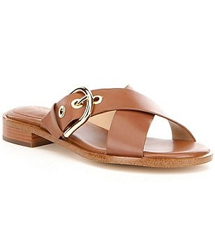 MICHAEL Michael Kors Cooper Leather Criss Cross Buckle Slide On Sandals