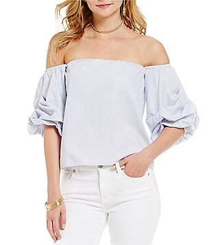 Lucy Paris Savannah Off-the-Shoulder Poplin Bubble Sleeve Blouse