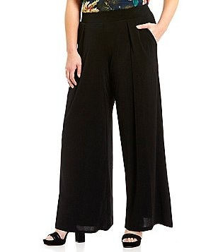 Gibson & Latimer Plus Elastic Waist Solid Pleated Gaucho Pant