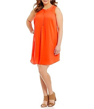 Gibson & Latimer Plus Zip Front Sleeveless Shirt Dress