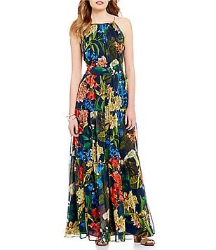 Gibson & Latimer Tropical Sleeveless Printed Maxi Dress