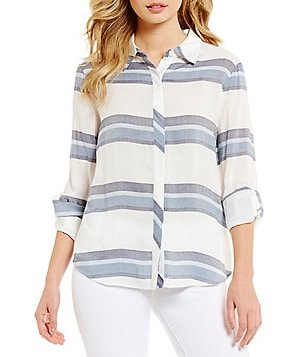 Cremieux Hayden Spread Collar Roll-Tab Sleeve Stripe Print Button-Front Blouse