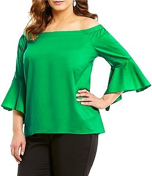 Gibson & Latimer Plus Off-the-Shoulder Bell Sleeve Poplin Blouse