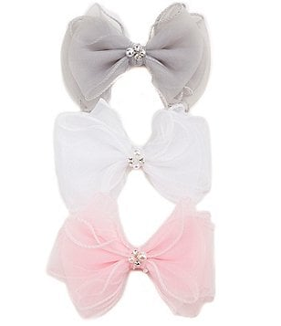 Copper Key 3-Pack Pearl & Rhinestone Hair Bow Set