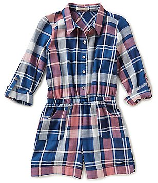 Copper Key Big Girls 7-16 Plaid Button-Front Elastic-Waist Romper