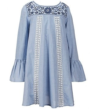 Copper Key Big Girls 7-16 Embroidered Bell-Sleeve A-Line Dress