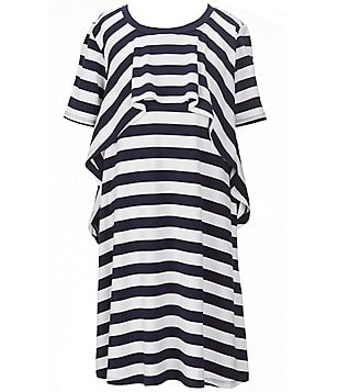 Copper Key Little Girls 4-6X Striped Ruffle Popover Short-Sleeve Dress