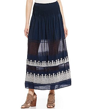 M.S.S.P. Smocked Printed Jacquard A-Line Maxi Skirt