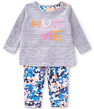 Joules Baby Girls Newborn-12 Months Poppy Striped Hug Me Top & Floral-Printed Pants Set