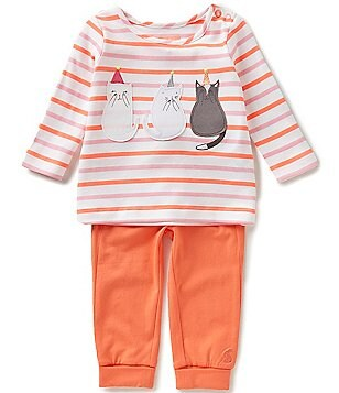 Joules Baby Girls Newborn-12 Months Poppy Cat Striped Top & Pants Set