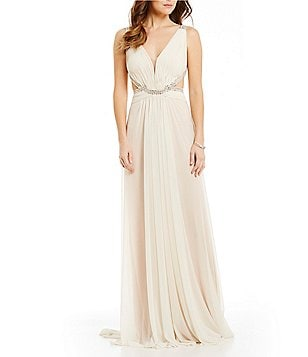 Glamour by Terani Couture Strappy Jeweled Back Long Dress