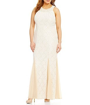Cachet Plus Beaded Lace Empire Gown