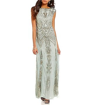 Pisarro Nights Petite Cap-Sleeve Beaded Column Gown