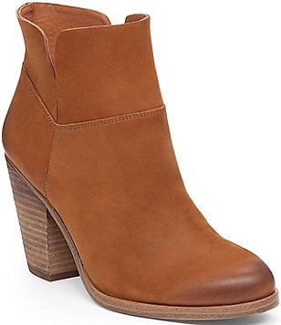 Vince Camuto Helyn Nubuck Leather Block Heel Slip-On Booties