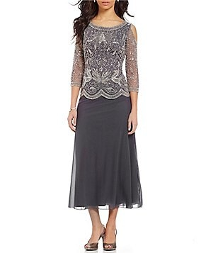 Pisarro Nights Petite Floral Beaded Mock 2-Piece Gown