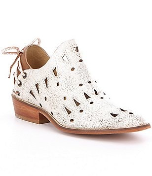 Coolway Anisse Cut-Out Metallic Leather Lace-Up Back Detail Booties