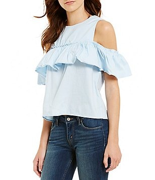 Love On Tap Poplin Cold Shoulder Ruffle Top