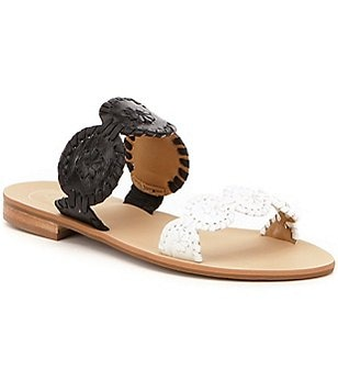 Jack Rogers Lauren Leather Whipstitched Double Banded Slide On Sandals