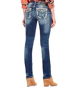 Miss Me Embellished Pocket Stretch Straight Jeans