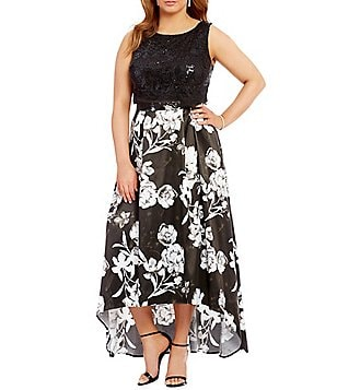 Jodi Kristopher Plus Lace to Floral Print Two-Piece High-Low Dress