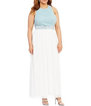 Jodi Kristopher Plus Lace Bodice Beaded Waist Long Dress
