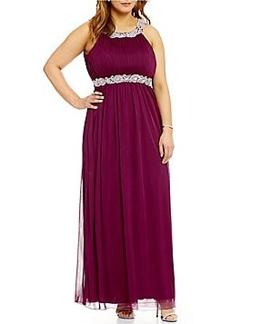 Jodi Kristopher Plus High Neck Beaded Trim Long Dress