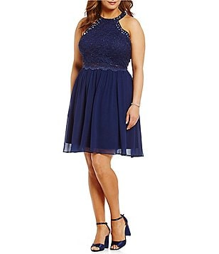 Jodi Kristopher Plus Lace-Bodice Pop-Over Dress
