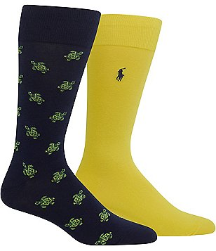 Polo Ralph Lauren Big & Tall Tossed Turtles Crew Dress Socks 2-Pack