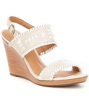 Jack Rogers Vanessa Banded Slingback Metallic Leather Wedge Sandals