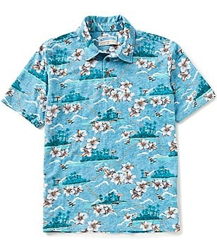 Margaritaville Short-Sleeve Floral Map Slub Jersey Polo