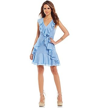 Gianni Bini Isla Ruffle V-neck Sleeveless Dress
