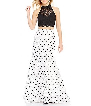 Jodi Kristopher Glitter Lace Open-Back Top High-Waist Polka-Dot Trumpet Skirt Long Two-Piece Dress