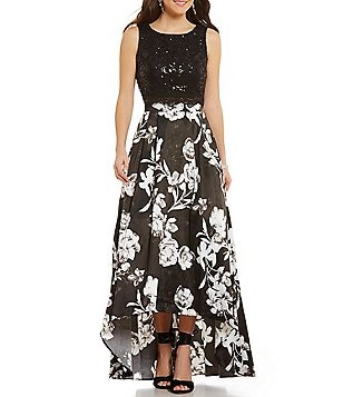 Jodi Kristopher Lace Top Two-Piece Floral Skirt High-Low Dress