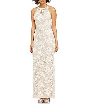 Belle Badgley Mischka Mindy Sequin Embroidered Dress