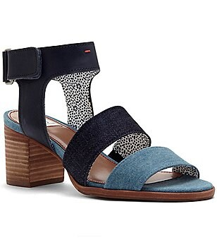 ED Ellen Degeneres Tahni Leather Banded Stacked Block Heel Sandals